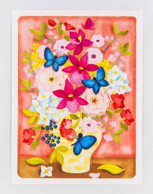 Pink Orchid Vase Postcard