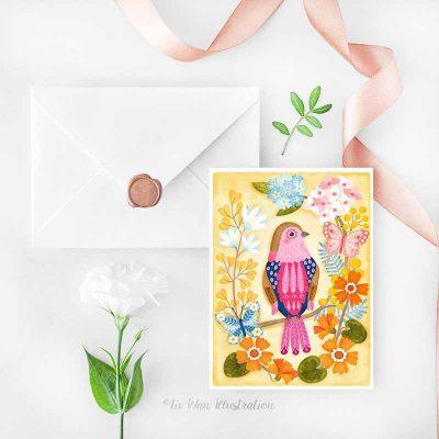 pink throated twinspot postcard