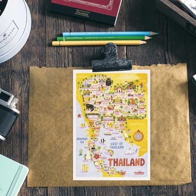 thailand map postcard