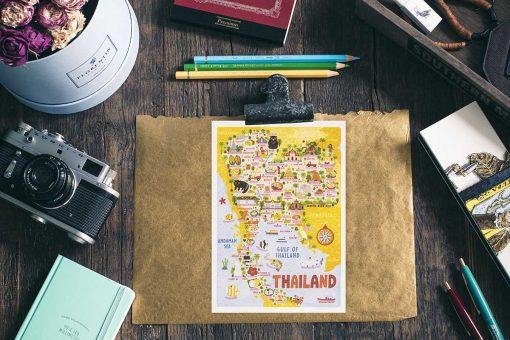 thailand map postcard