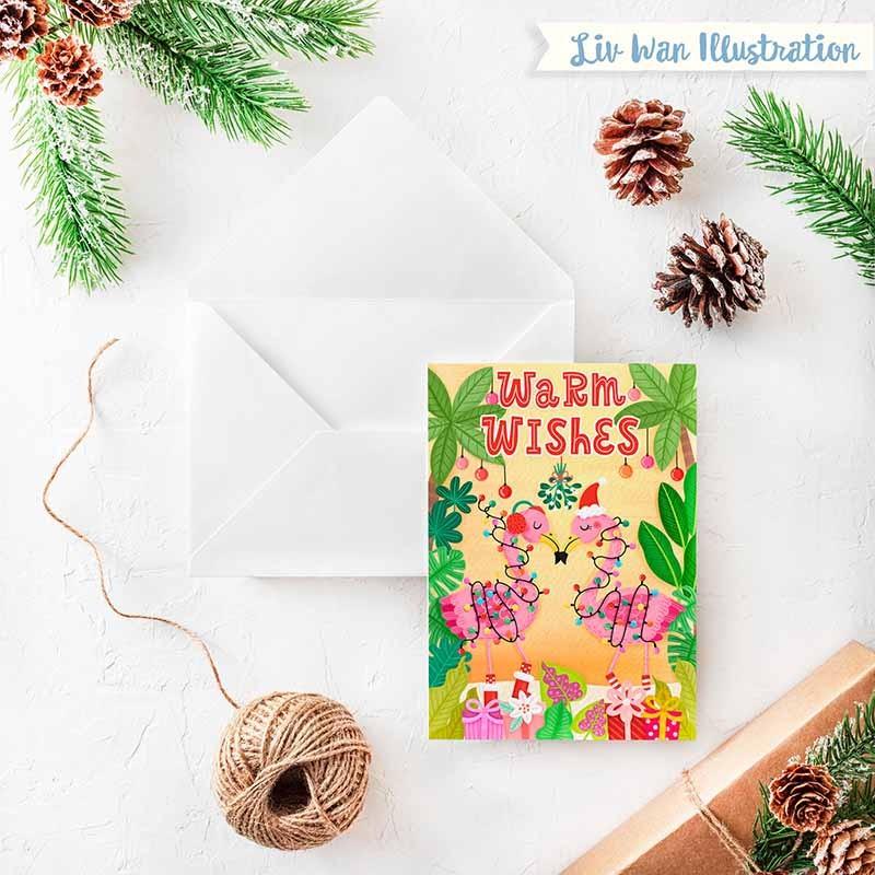 Warm Wishes Christmas Card Colourful Fun Greeting Card