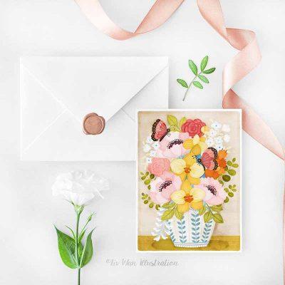 yellow orchid vase postcard