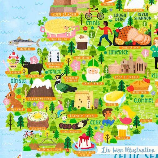 ireland map postcard