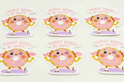 Donut Worry Be Happy Food Pun Sticker