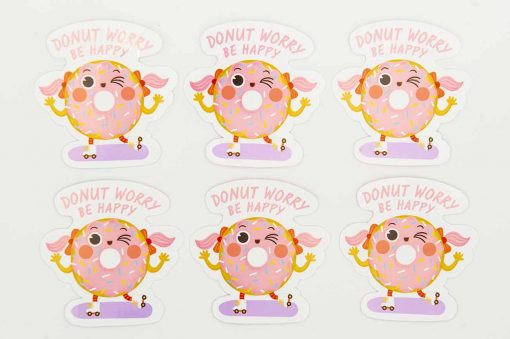 Donut Worry Be Happy Food Pun Sticker