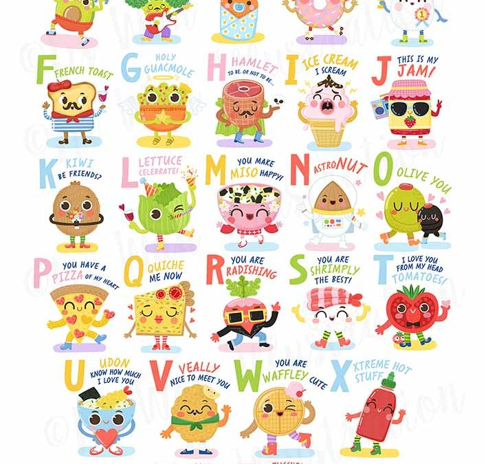 Food Pun Aphabet Stickers