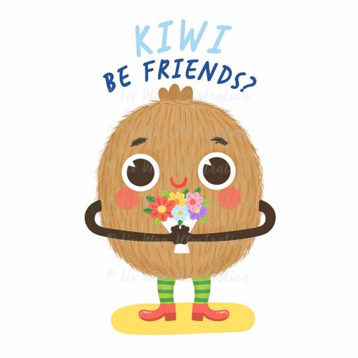 Kiwi Be Friends Food Pun Sticker