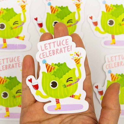 Lettuce Celebrate Food Pun Sticker