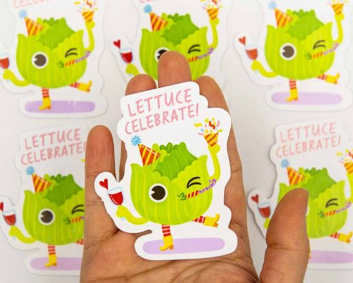 Lettuce Celebrate Food Pun Sticker
