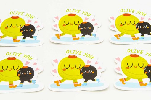 Olive You Food Pun Sticker