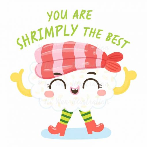 Shrimply The Best Food Pun Sticker