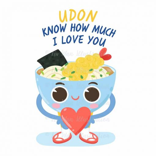 Udon Love Me Food Pun Sticker