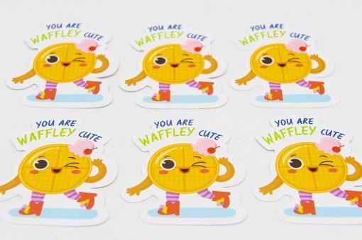 Waffley Cute Food Pun Sticker