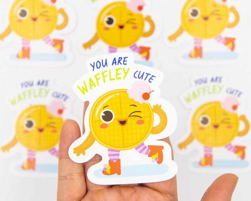Waffley Cute Food Pun Sticker