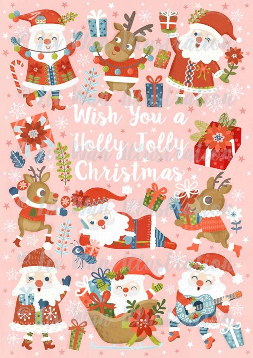 Wish You A Holly Jolly Christmas Postcard