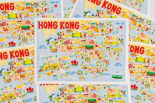 hong kong map postcard