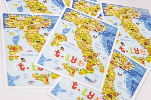 italy map postcard