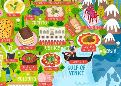 italy map poster illustration