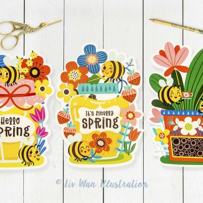Bee Honey Spring Cut Out Postcards