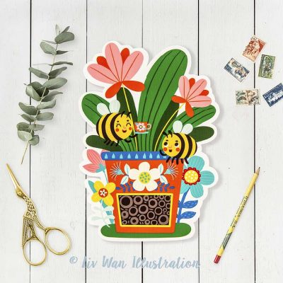 Bee House Bee Honey Postcard