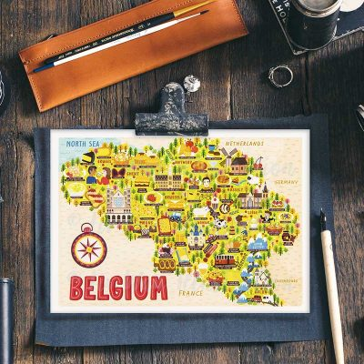belgium map postcard