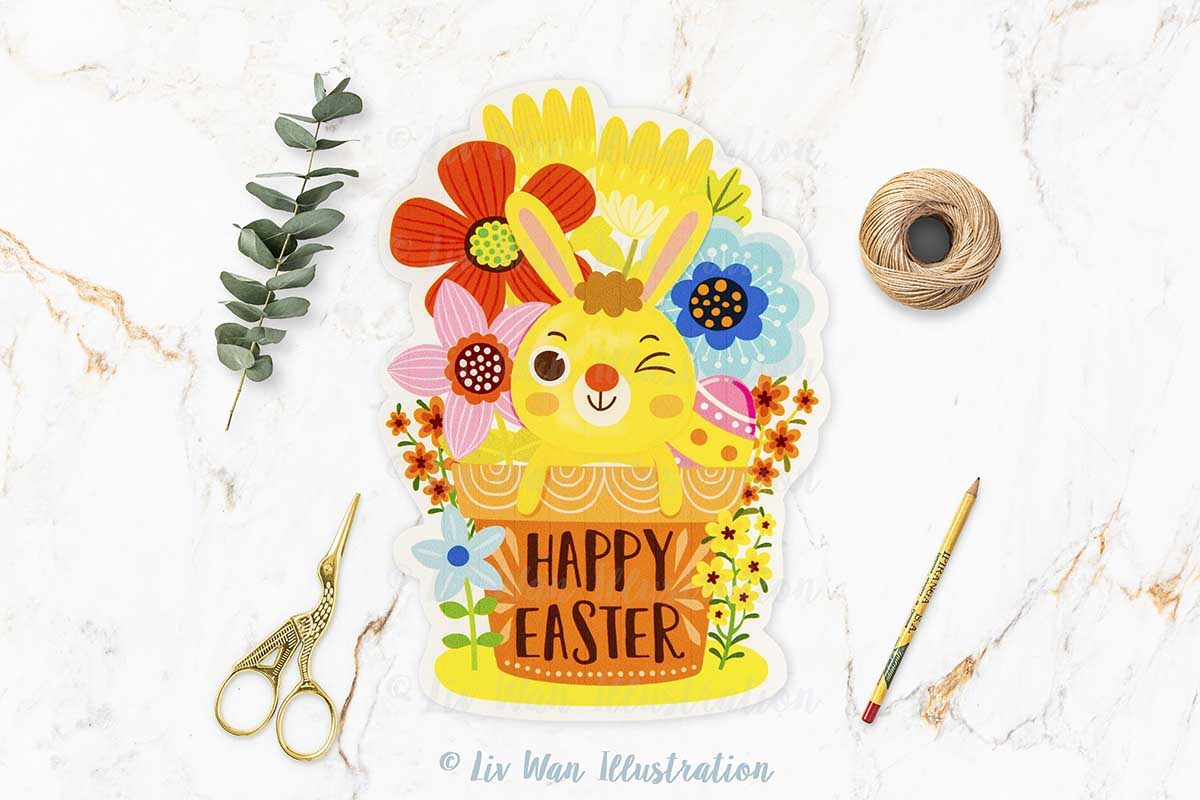 Happy Easter Bunny Flower Pot Postcard