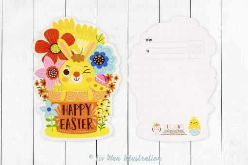 Happy Easter Bunny Flower Pot Postcard