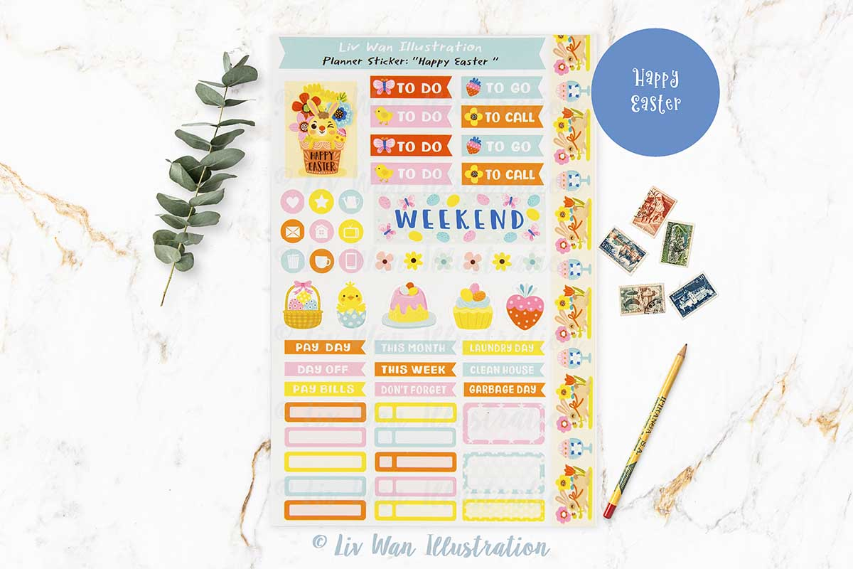 Happy Easter Bunny Planner Stickers