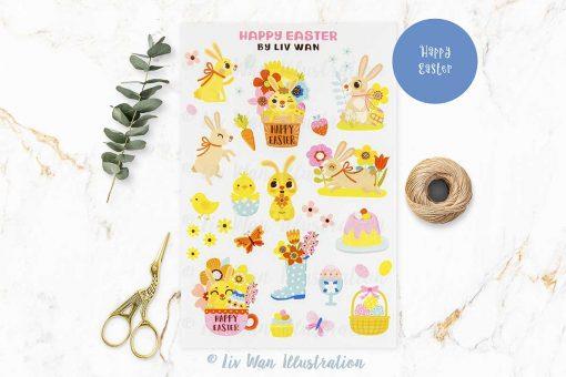 Happy Easter Bunny Sticker Sheet