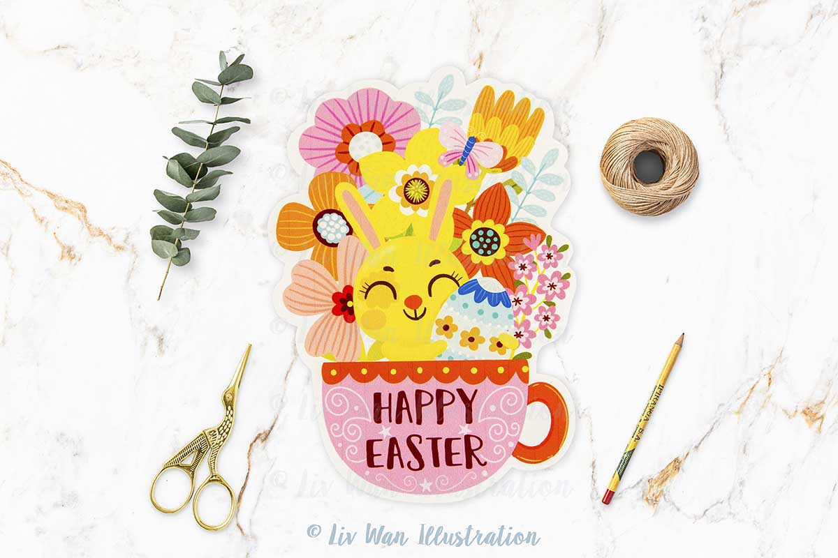 Happy Easter Teacup Postcard