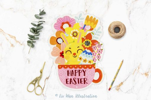 Easter Bunny Spring Cut Out Postcards