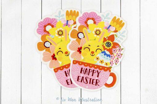 Happy Easter Teacup Postcard