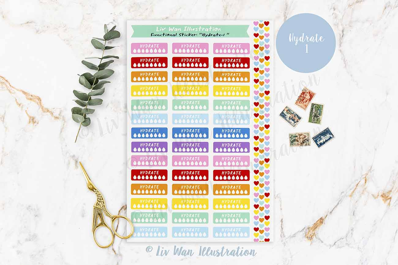 Hydrate Planner Stickers