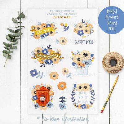 Pastel Flowers Happy Mail Sticker Sheet
