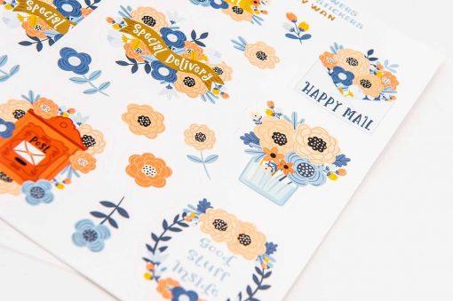 Pastel Flowers Happy Mail Sticker Sheet