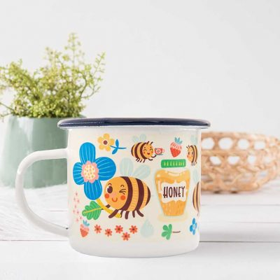 bee honey enamel mug
