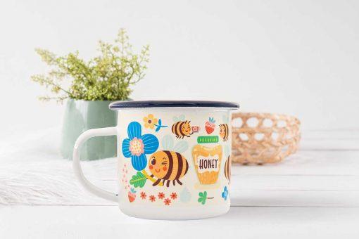 bee honey enamel mug