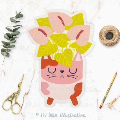 Cat Plant Lovers Postcard