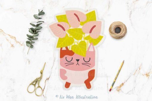 Cat Plant Lovers Postcard
