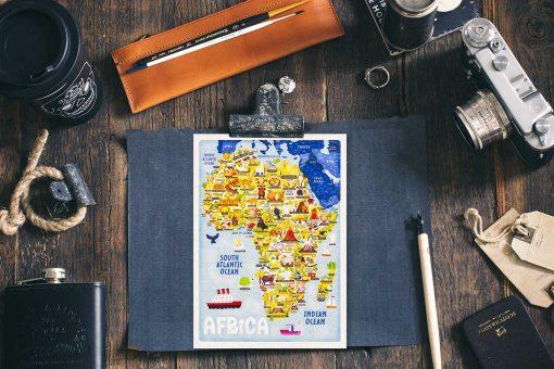 Africa Food Map Postcard