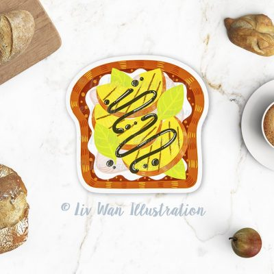Grilled Peach Toast Postcard
