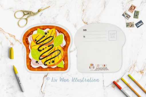 Grilled Peach Toast Postcard
