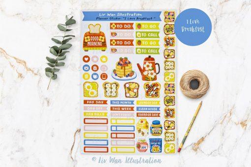 I Love Breakfast Planner Stickers