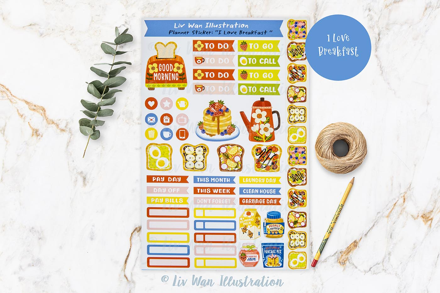 I Love Breakfast Planner Stickers