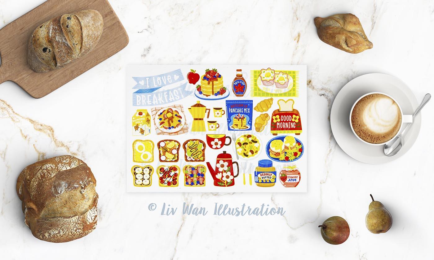 I Love Breakfast Postcard