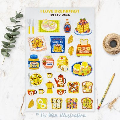 I Love Breakfast Sticker Sheet