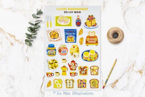 I Love Breakfast Sticker Sheet