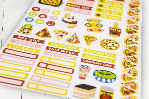 I Love Italian Food Planner Stickers Sheet