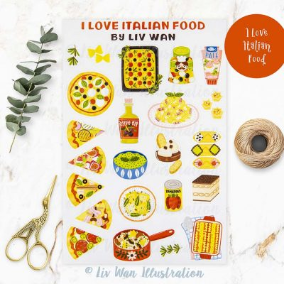 I Love Italian Food Sticker Sheet