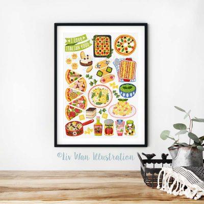 I Love Italian Food Poster